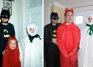 Boys recreate childhood photos for moms calendar