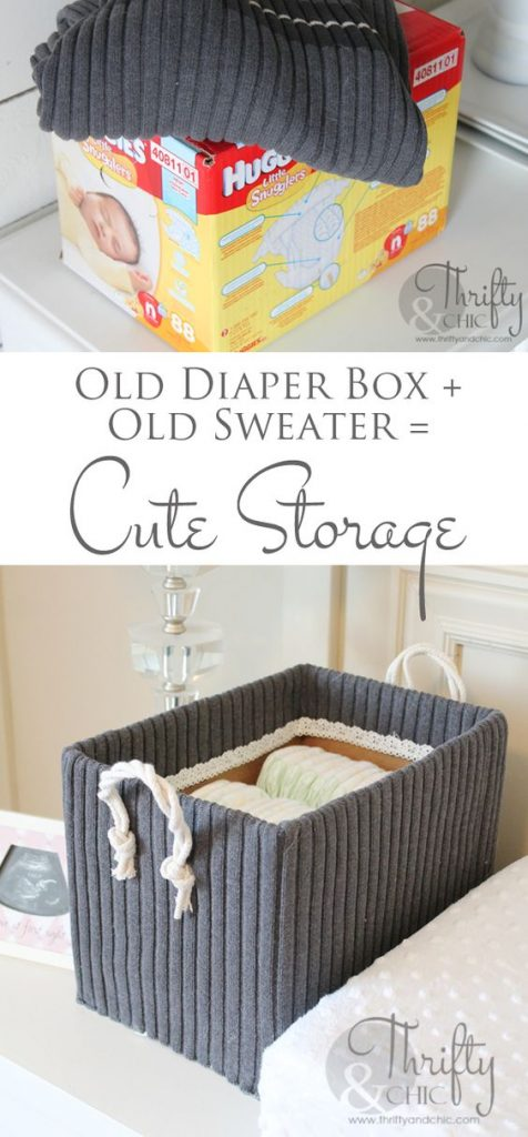 old diaper box into storage container