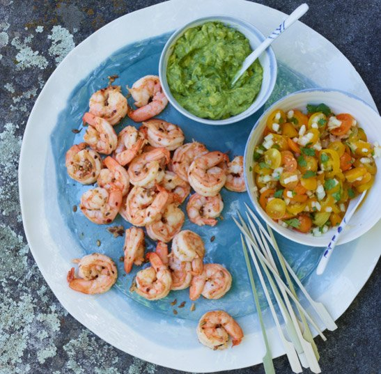 Spiced Shrimp with Tomato Salsa and Avocado Dip