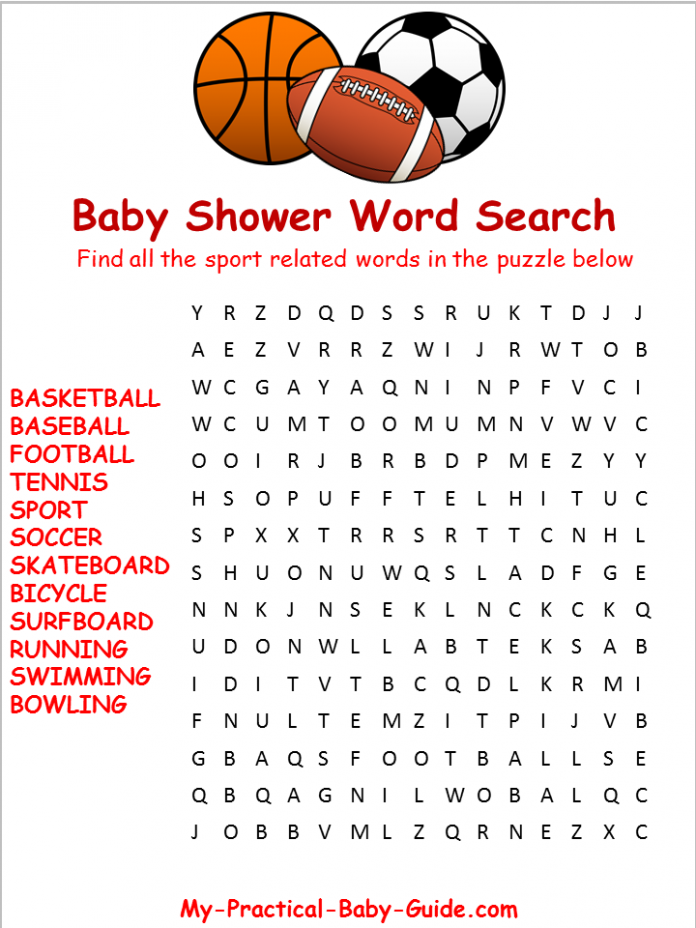 Exhilarating image within baby shower word search printable