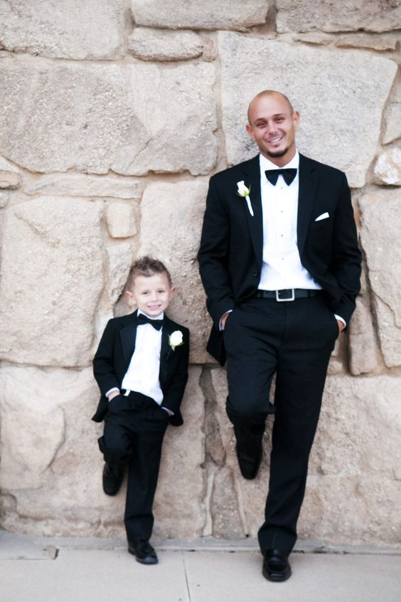 Black father and son matching outfits