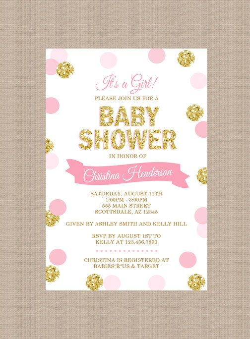 100 stunning printable baby shower invitations momooze 41pink and gold baby shower invitation filmwisefo