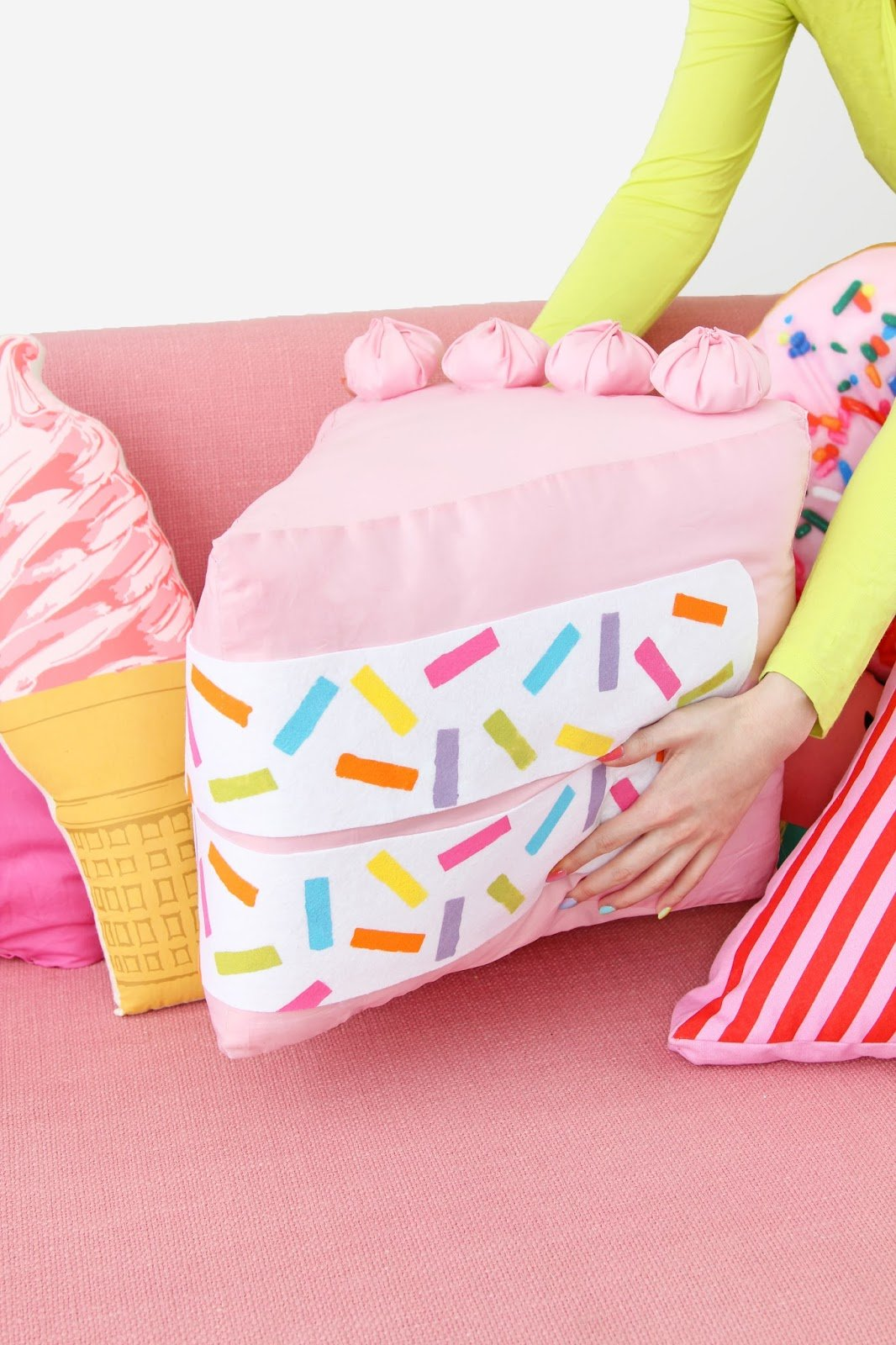 5funfetti cake slice pillow