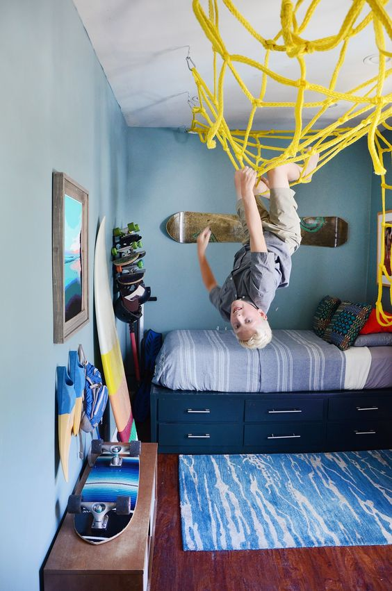 28 coolest playroom decor ideas yellow net ceiling climbing momooze.com online magazine for moms