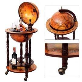 36″ Retro Wooden Globe Bar Trolley