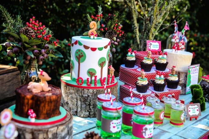Enchanted Forest Party Theme Ideas for Kids Birthday cake dessert table momooze.com online magazine for moms