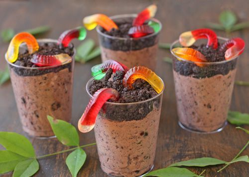 Enchanted Forest Party Theme Ideas for Kids Birthday dirt pudding cups with gummy worms momooze.com online magazine for moms