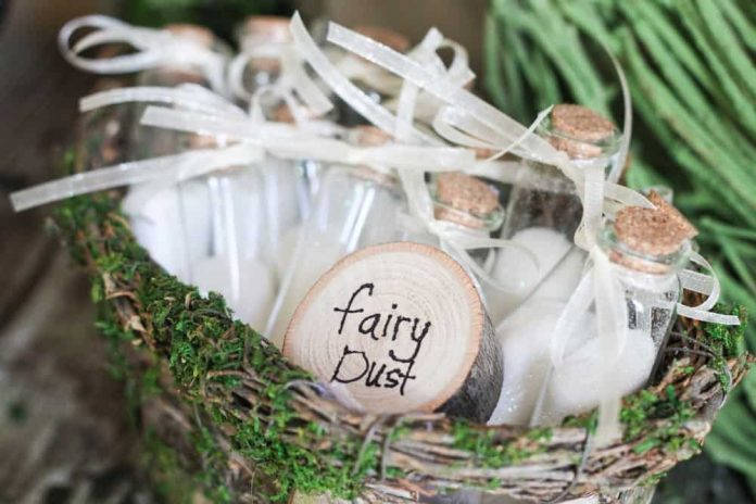 Enchanted Forest Party Theme Ideas for Kids Birthday fairy dust favors momooze.com online magazine for moms