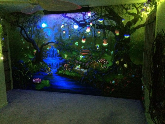 Enchanted Forest Party Theme Ideas for Kids Birthday light bedroom mural momooze.com online magazine for moms