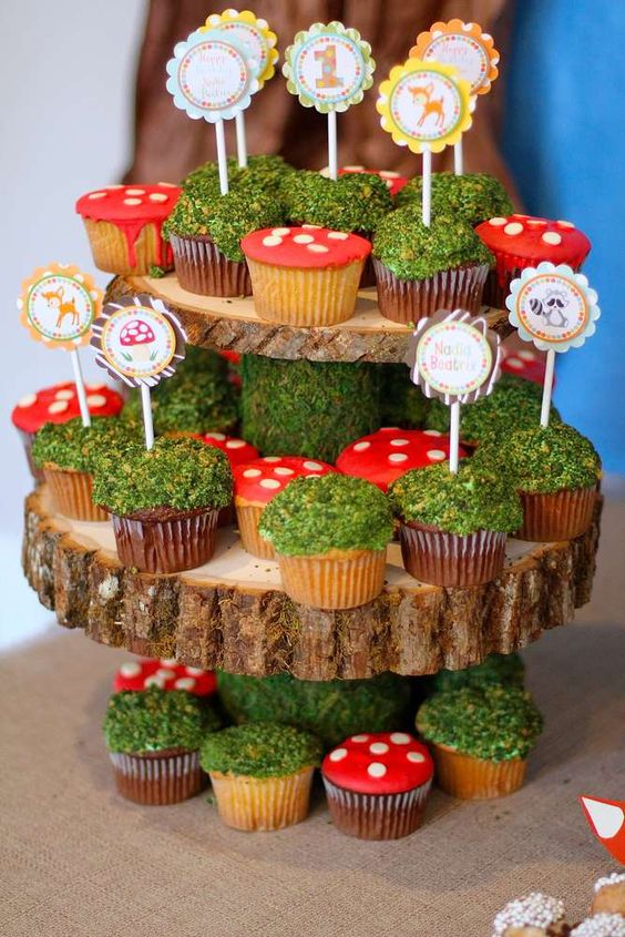 Enchanted Forest Party Theme Ideas for Kids Birthday moss cupcakes momooze.com online magazine for moms