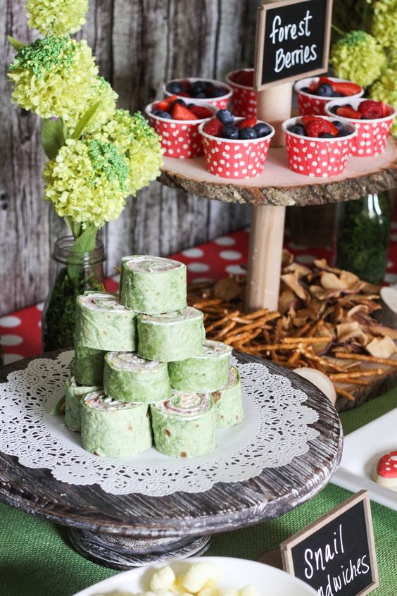 Enchanted Forest Party Theme Ideas for Kids Birthday snail sandwiches momooze.com online magazine for moms