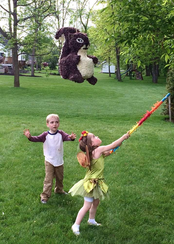 Enchanted Forest Party Theme Ideas for Kids Birthday squirrel pinata kids bday momooze.com online magazine for moms