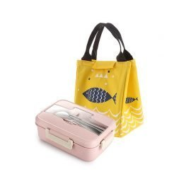 Microwave Friendly Wheat Straw Lunch Box With Cute Carry Bag