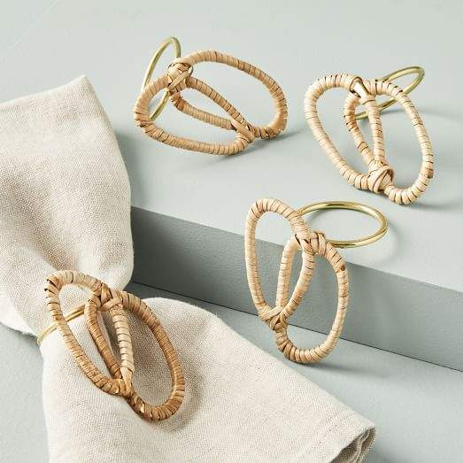 Rattan Wrapped Jewelry Napkin Rings (Set of 4)