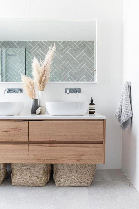 Scandinavian bathroom - elements of nature and wooden sinks