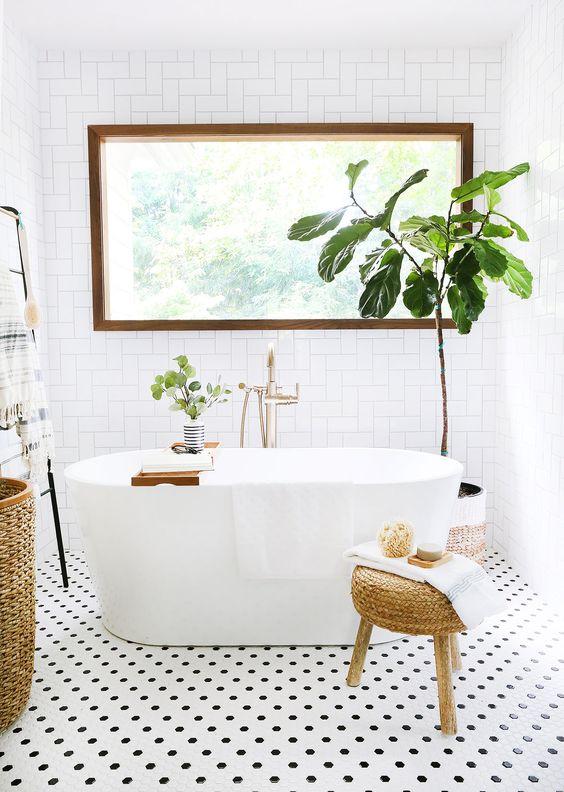 Scandinavian bathroom - all white bathroom with rattan decorations