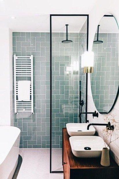 Scandinavian bathroom - colored tiles in bathroom