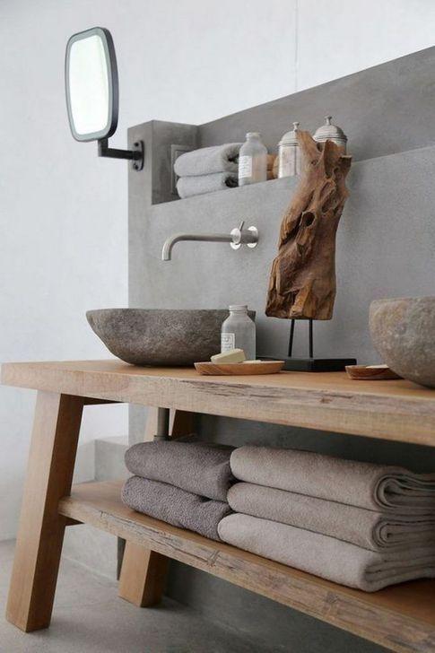 Scandinavian bathroom - modern natural tones