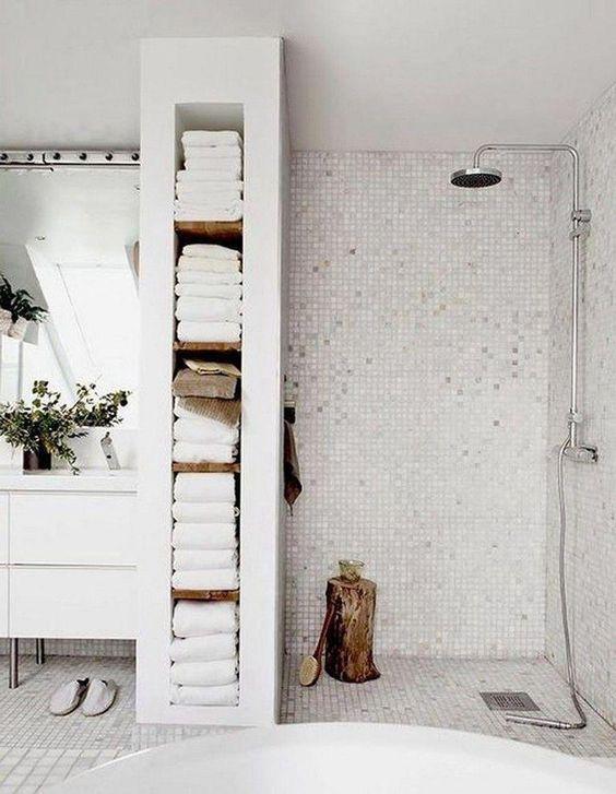 Scandinavian bathroom - smart storage solutions