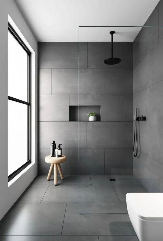 Scandinavian bathroom - all grey tiles in bathroom