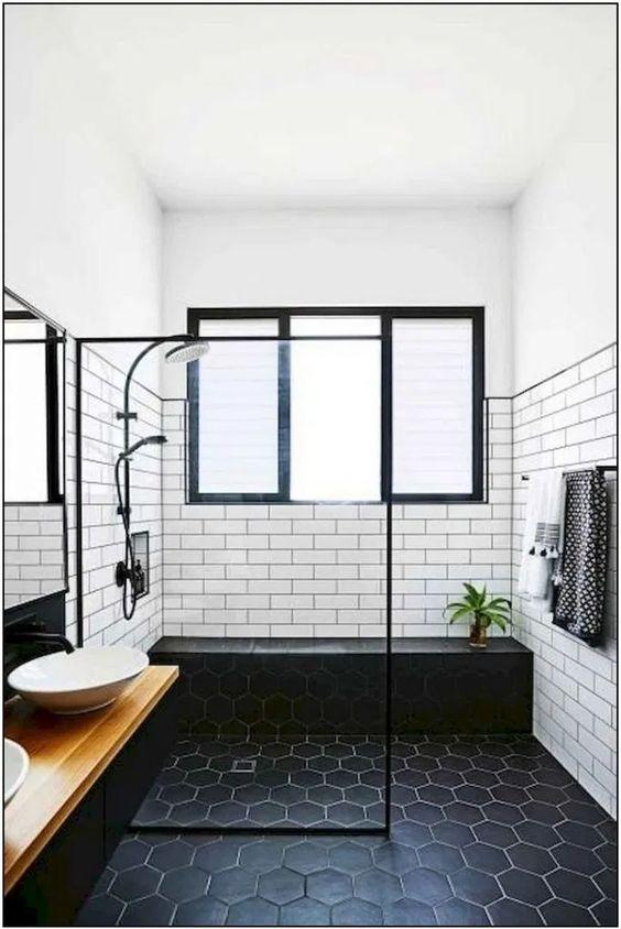 Scandinavian bathroom -black tiles in bathroom