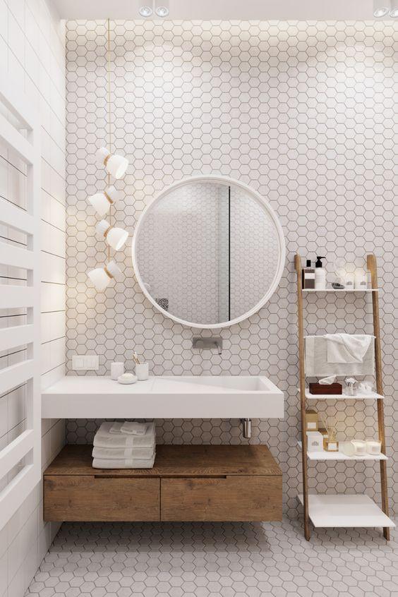 Scandinavian bathroom - quirky white tiles