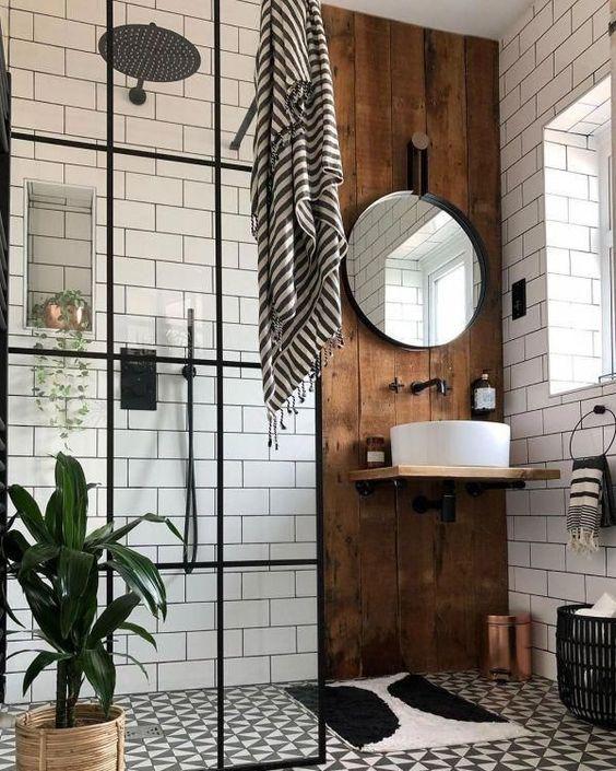 Scandinavian bathroom - black metal with wood elements