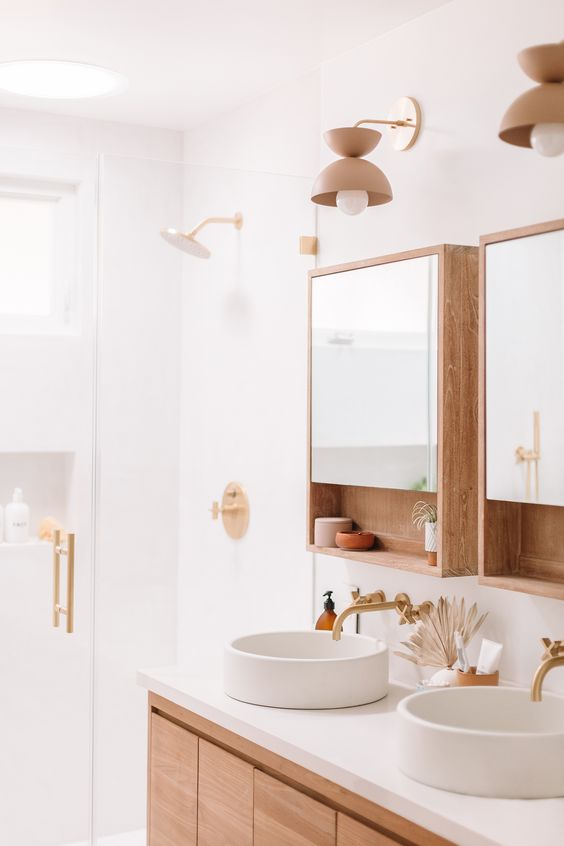 Scandinavian bathroom -wooden and white bathroom