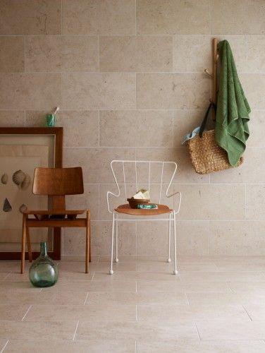 Scandinavian bathroom - beige tiles all around