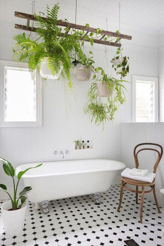 Scandinavian bathroom - add plants