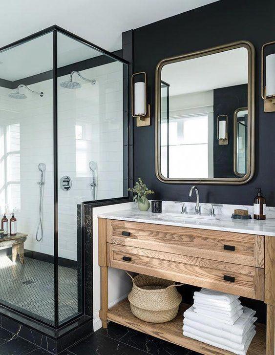 Scandinavian bathroom - black walls