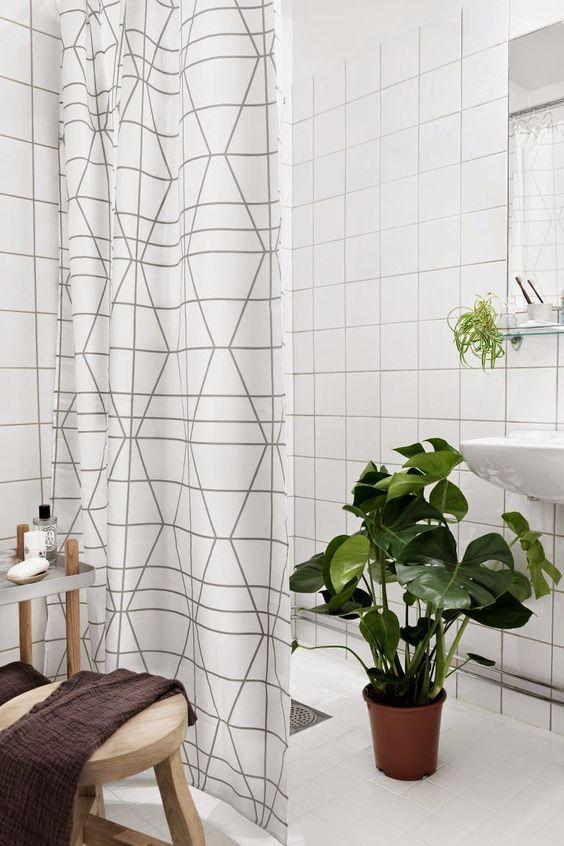 Scandinavian bathroom - modern shower curtain