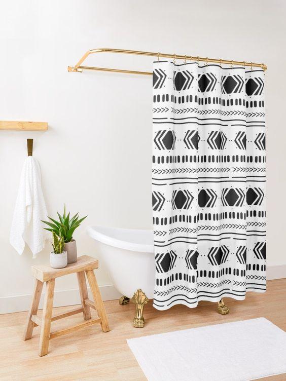 Scandinavian bathroom - statement shower curtain
