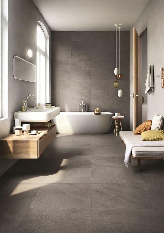 Scandinavian bathroom - all grey neat tones