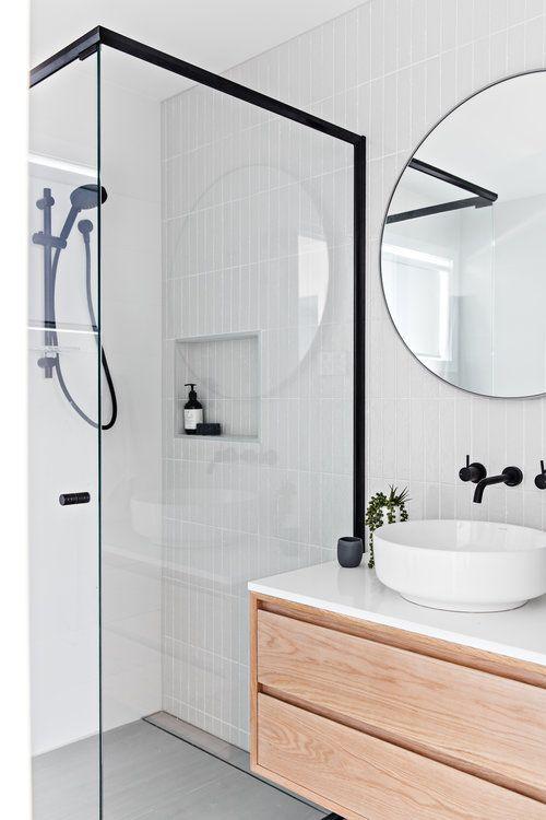 Scandinavian bathroom -white bathroom with black lines