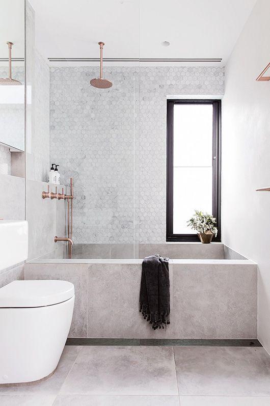 Scandinavian bathroom -all grey bahtroom with modern bath tub