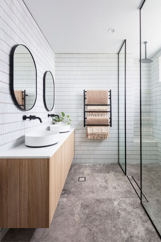 Scandinavian bathroom -white and black bathroom with wooden elements