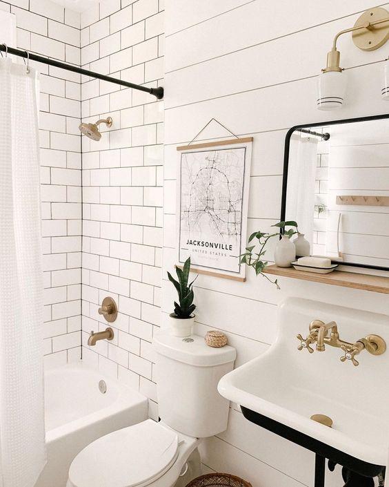 Scandinavian bathroom -boho style white bathroom