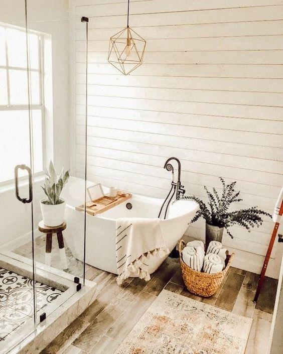 Scandinavian bathroom -boho style bathroom with white tiles and rug