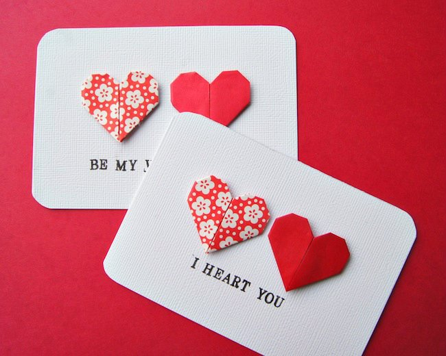 Top Valentine's Day DIY Ideas origami heart cards momooze.com online magazine for moms