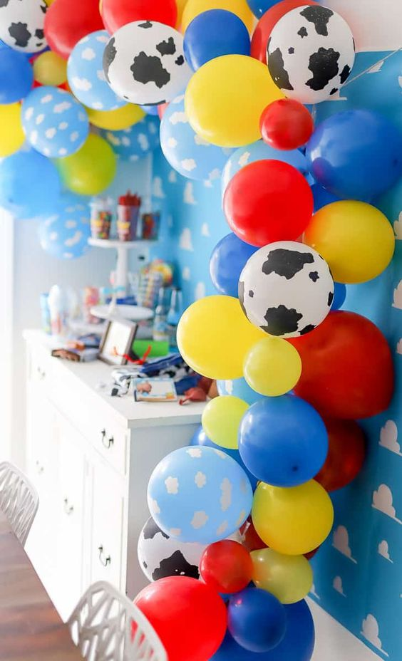 balloons for baby shower party in toy story theme