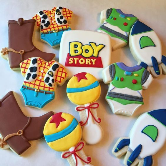 colorful baby shower cookies in toy story theme
