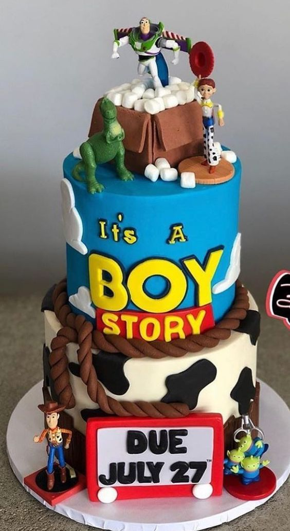 three tier baby shower cake with toy story theme