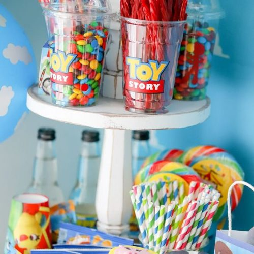different snacks and food table for toy story baby shower
