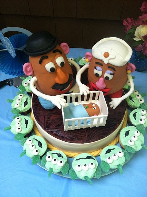 Mr & Mrs Potato baby announcement cake for baby shower party