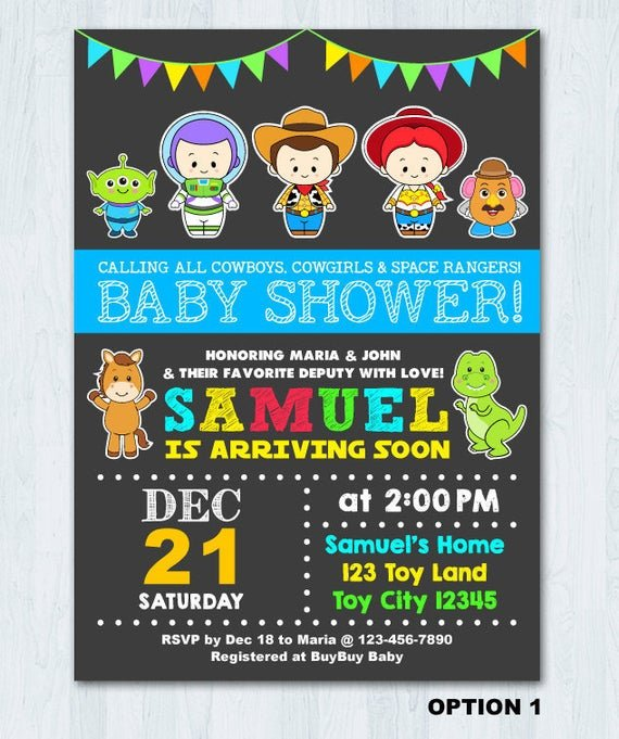 invitation for baby shower in toy story theme