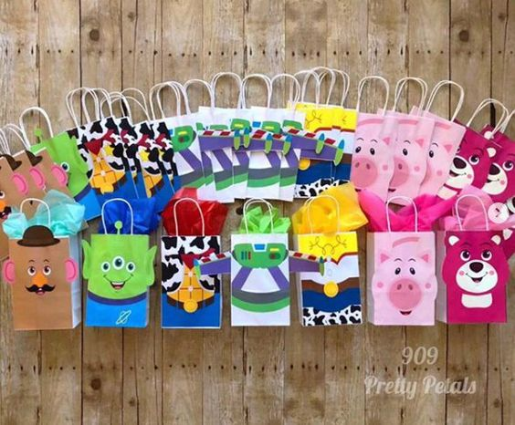 vibrant paper gift bags for baby shower party