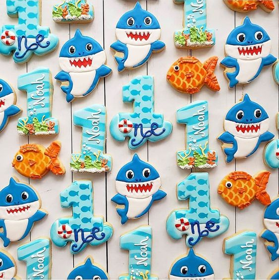 Adorable Baby Shark Cookies for Kids Birthday Party