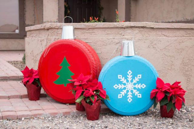 best christmas porch decoration ideas DIY recycled tires momooze.com online magazine for modern moms