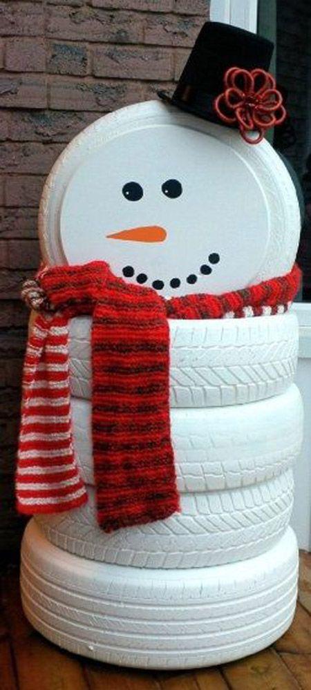 best christmas porch decoration ideas christmas DIY snowman tires momooze.com online magazine for modern moms
